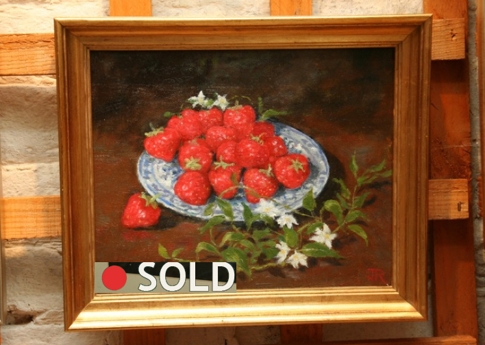 Strawberries on Blue Dish - Jenny Richards
